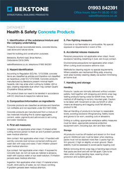 Health & Safety Data Sheet for Concrete Productrs